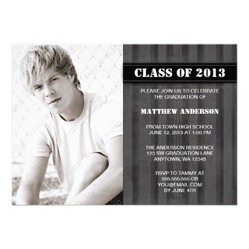Gray Grunge Stripe Photo Graduation Announcement