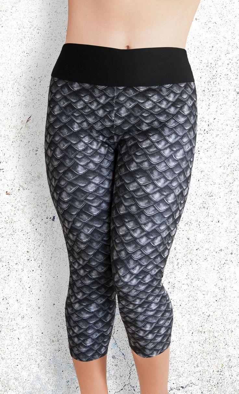 Capri Leggings - Gray Dragon Scales - Funtastic Activewear