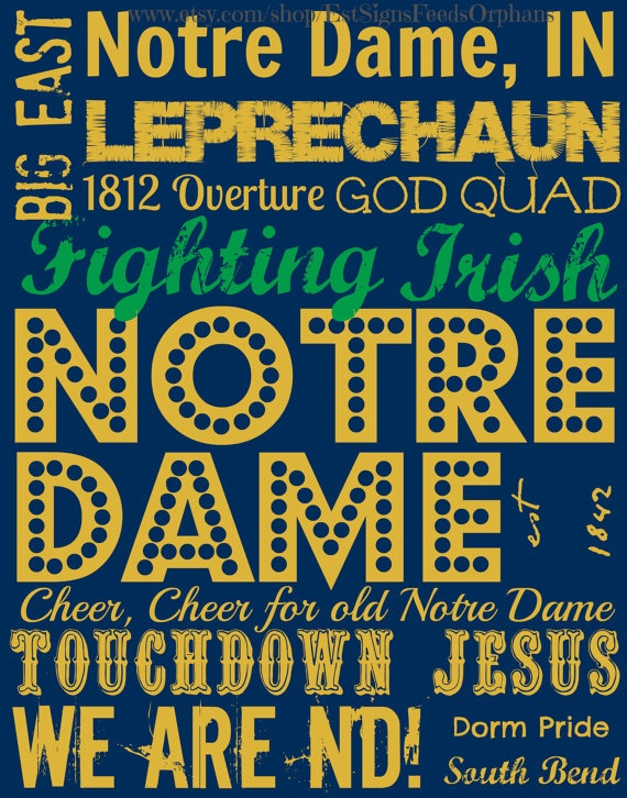 Notre Dame Fighting Irish Subway Art on an by EstSignsFeedsOrphans, $30.00