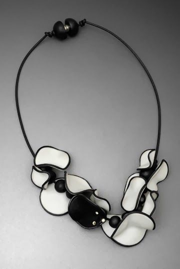 Black & white polymer clay necklace; contemporary jewellery design // Gloria Askin