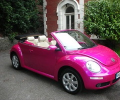 Pink Convertible Bug -what she wants when she turns 16 ;)