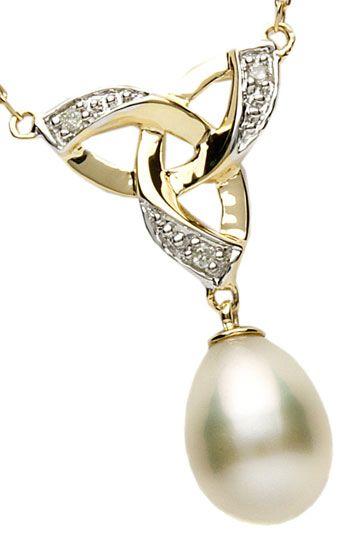 14k Gold Diamond Set Pearl Trinity Knot Pendant #valentinesgifts #pearljewelry $195.00