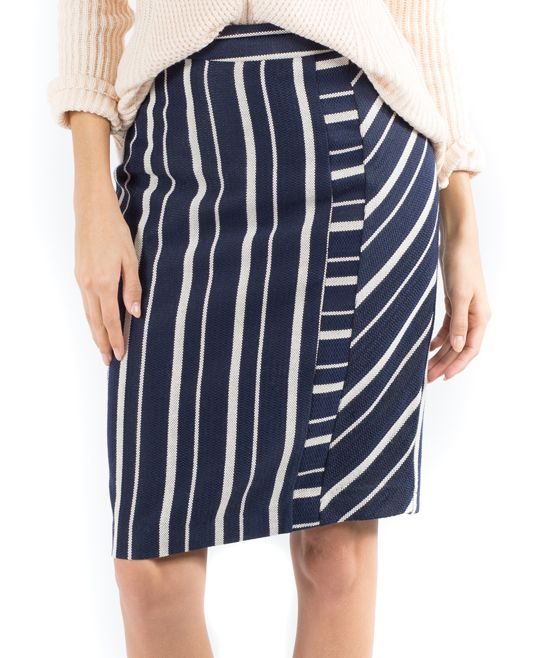 Navy Stripe Linear Lines Pencil Skirt