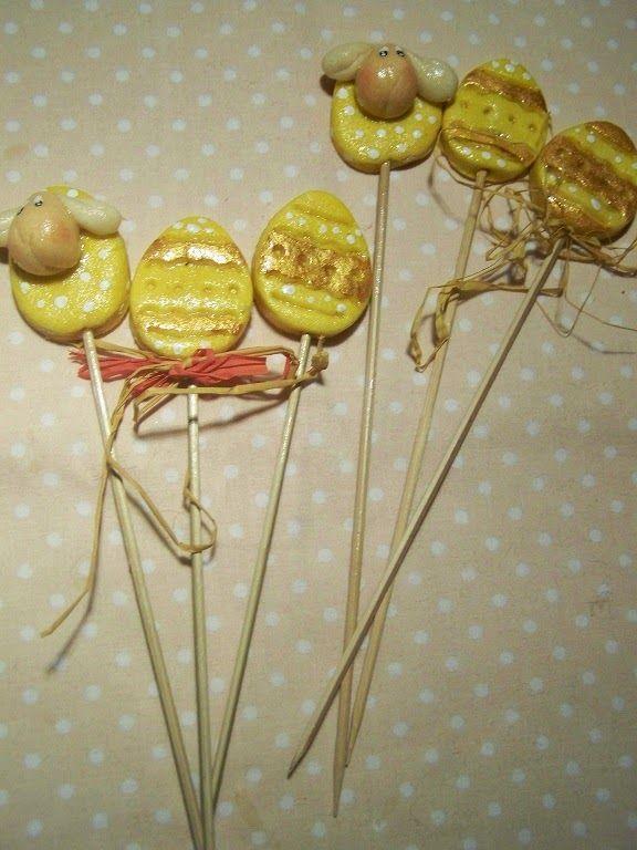 ANIOŁOWO MASA SOLNA: Malutkie pisaneczki na patykach do rzeżuchy)