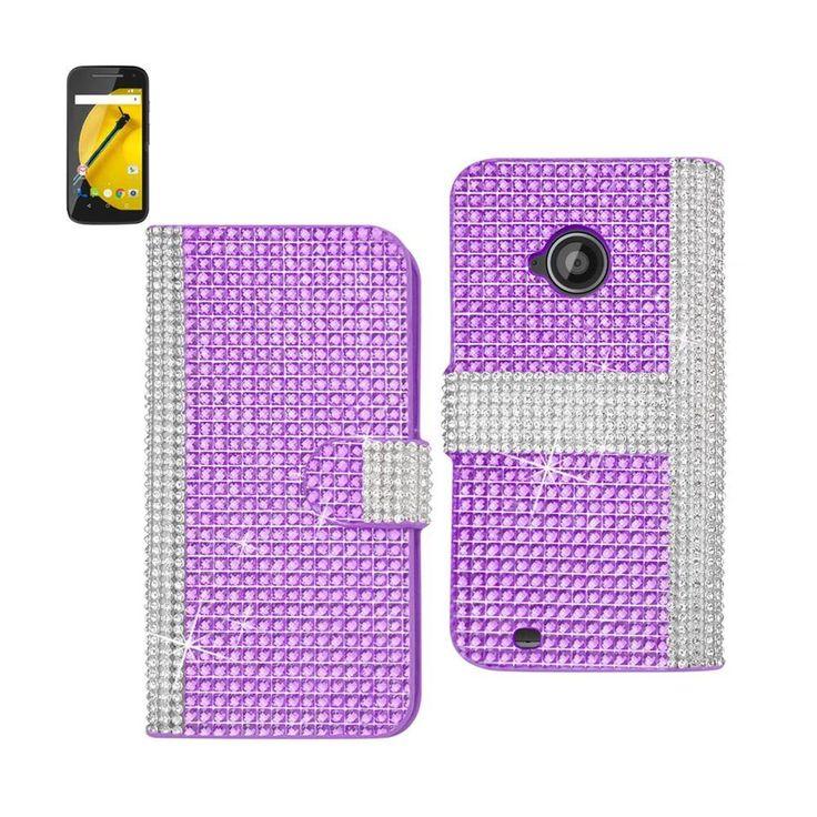 Reiko Diamond Flip Case For Motorola Moto E Lte (2Nd Generation) Moto E (2015)-Xt1527/Xt1511/Xt1505/Xt1524 Purple