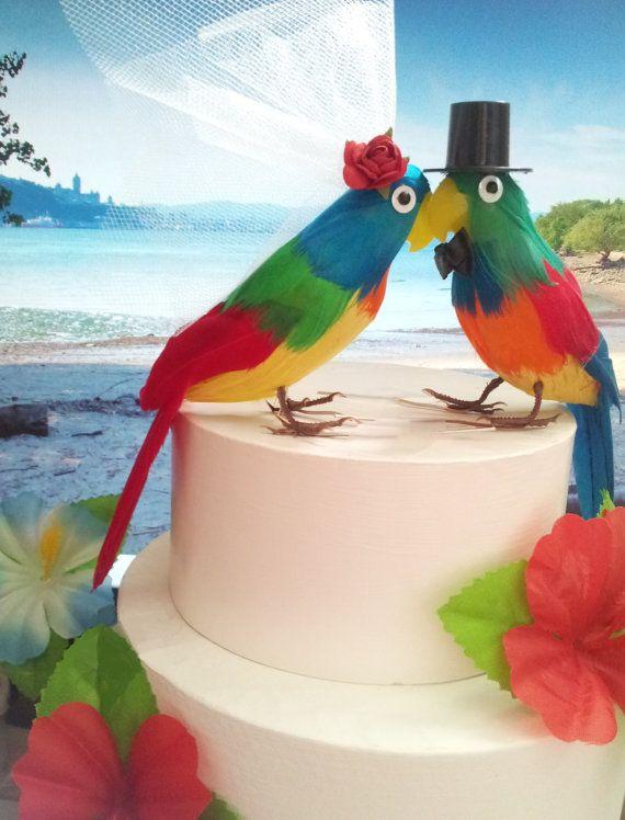 tropical wedding parrots cake topper              by MissRoseDanae, love birds!