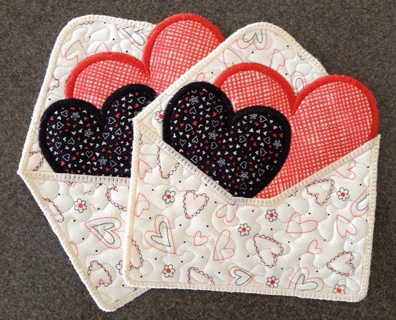 VALENTINE Mug Rugs . . .loveletters . . by pdqdesigns on Etsy