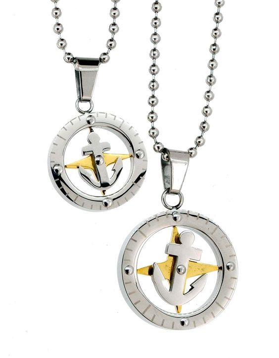 Pair of Necklaces, Couple Necklaces, Best Friend Necklaces (Anchor): Jewelry