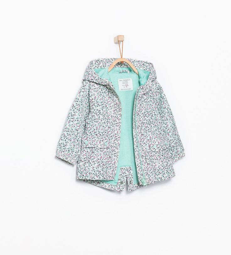 Printed raincoat with hood - Jackets - Baby girl (3 months - 3 years) - KIDS | ZARA United States