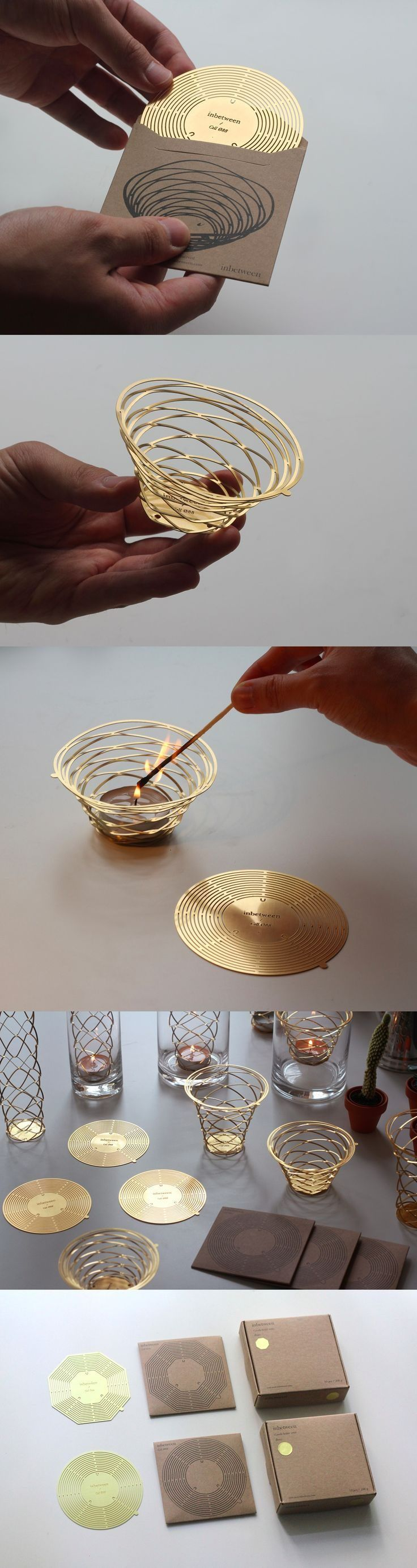 Brass pop up candle holder