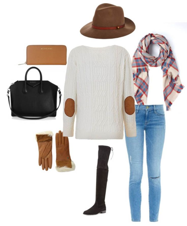 Winter Street Style: Lady Kate White Cable Knit Boyfriend Sweater, Rag & Bone fedora, Boden scarf, Frame Denim jeans, Stuart Weitzman over the knee boots, UGG gloves, Givenchy bag and Michael Kors wallet.
