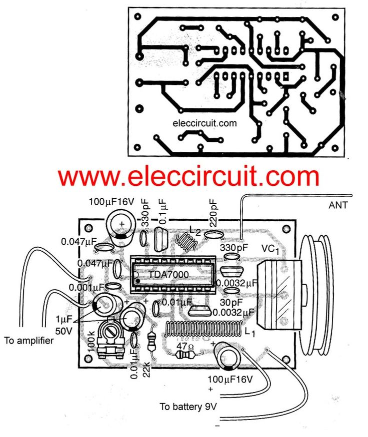fm receiver circuit with pcb - simple circuit