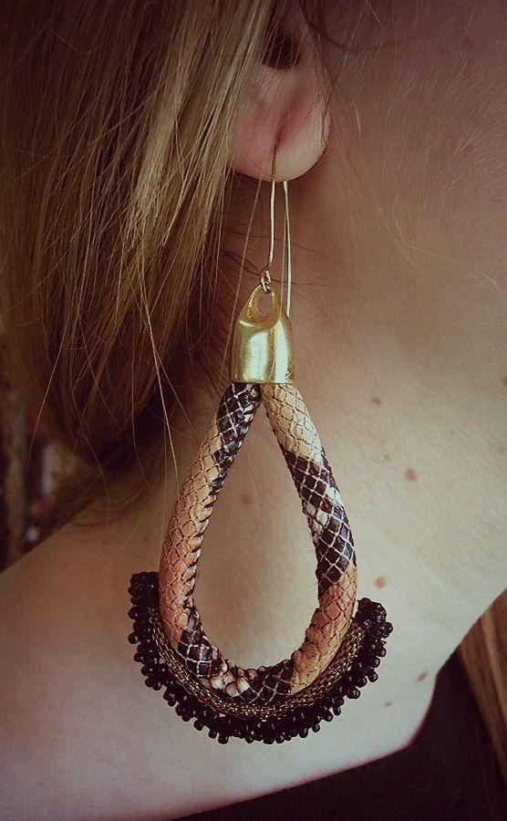 #earring #colours #handmade #orange #black #leather