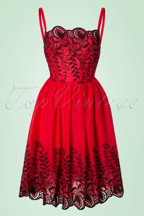 Voodoo Vixen Scarlett Red Floral Dress black rood en zwart bloemen print jurk 1950s vintage look
