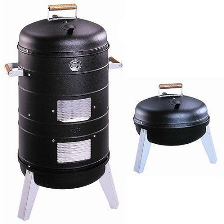 Meco Southern Country Smoker 2-in-1 Charcoal Water Smoker with 2 Levels of Smoking and Combination Portable Grill, Black