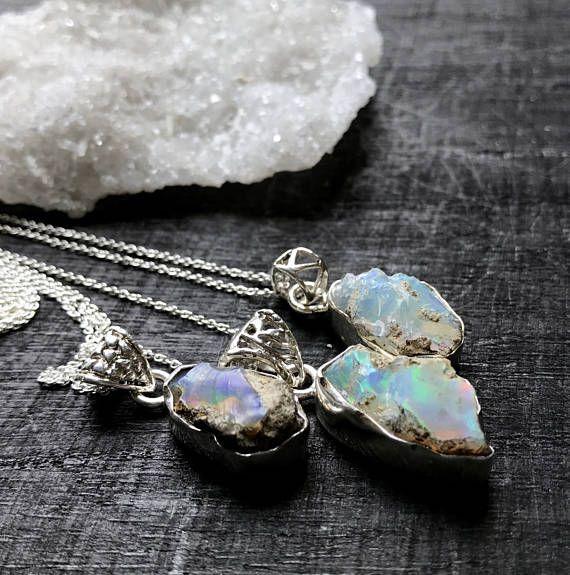 Rohen Opal Halskette  Klobige Opal Halskette  Opal Kristall