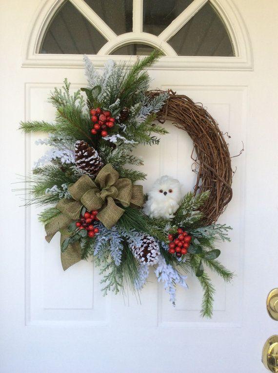 Christmas Wreath-Snowy Owl Wreath-Holiday by ReginasGarden on Etsy
