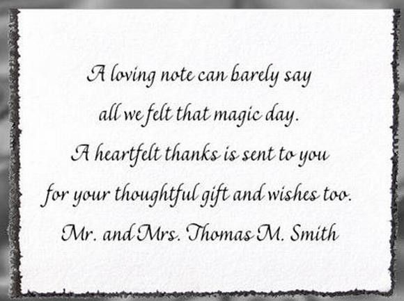 Wedding Thank You Cards Wording For Money Gifts: Wedding Thank You Examples