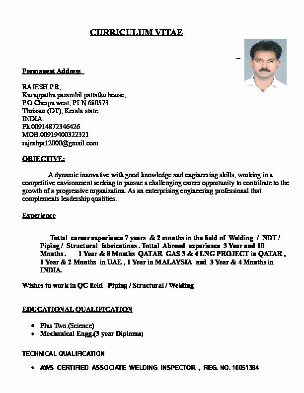 Quality Control Inspector Resume Lovely Rajesh Resume For Qa Qc Piping And Welding Inspector Best Resume Resume Welding Inspector