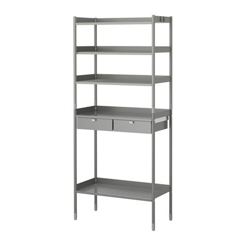 IKEA - HINDÖ, Shelving unit in/outdoor, Also stands steady on an uneven floor since the feet can be adjusted.The drawers have pull-out stops to keep them in place.You can adjust the height of the shelves to suit your needs.The shelving unit is durable, easy to clean and protected from rust, as it is made of powder-coated steel.
