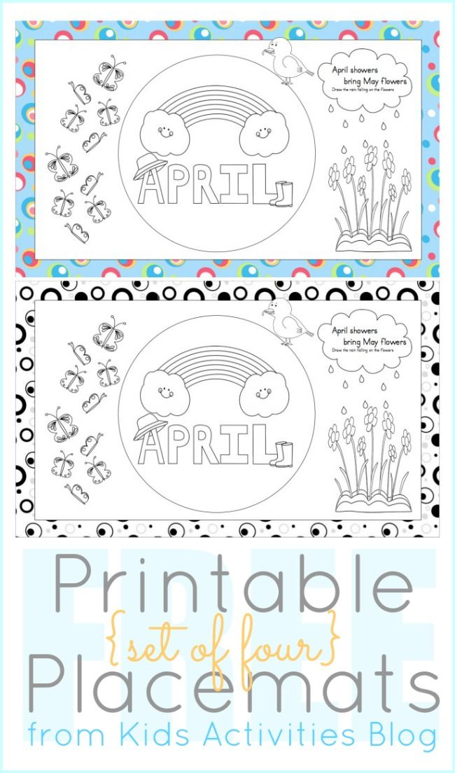 Printables to Color April Placemats for Kids