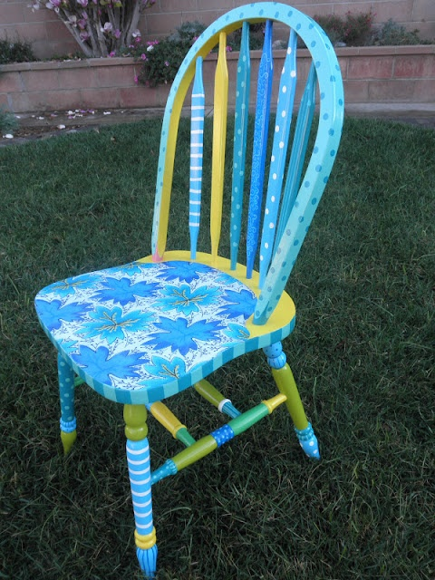 Flora the Chair. Vintage printed fabric and acrylic paint on wooden chair sealed with glossy finish polyurethane. by rebecca waring-crane