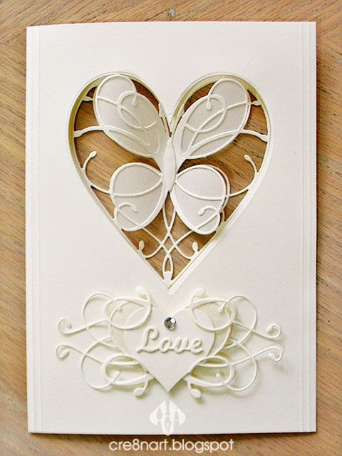 Memory Box 'La Rue Heart' and 'Amira Flourish' dies, in addition to Elizabeth Craft's 'Love' die, used to make this 'Butterfly' Valentine's/Wedding aperture card, by cre8nart