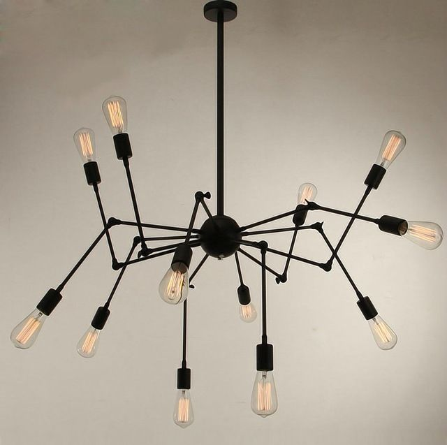 Spider Pendant Lamp Retractable Pendant Light 6 8 12 18 Arms Spider Pendant Lamp Black Red White Pendant Lights for Ceiling
