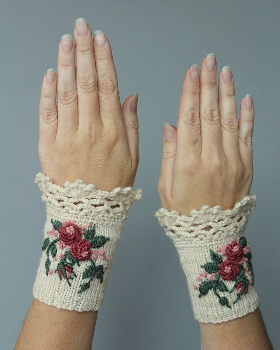 Knitted Fingerless Gloves, Gloves & Mittens, Gift Ideas, For Her Accessories, Winter Accessories, Ivory,Roses,Embroidered, Autumn, Fall
