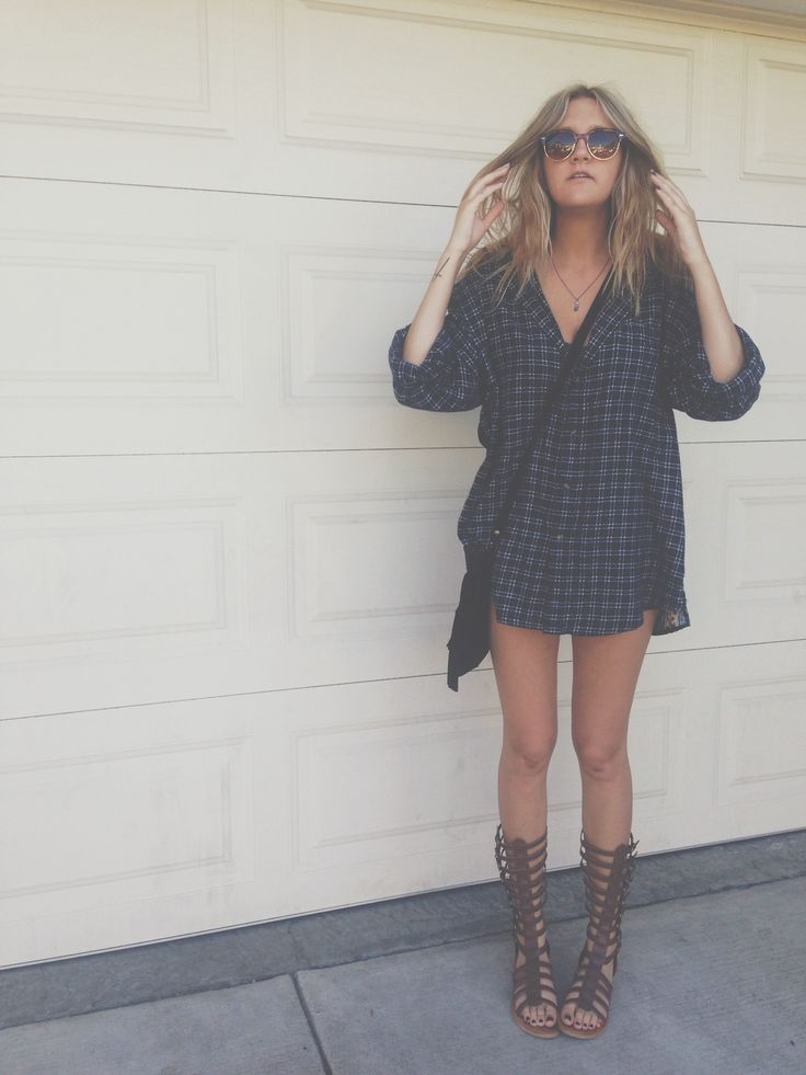 oversized flannel with gladiator sandals, so cute for summer or early fall