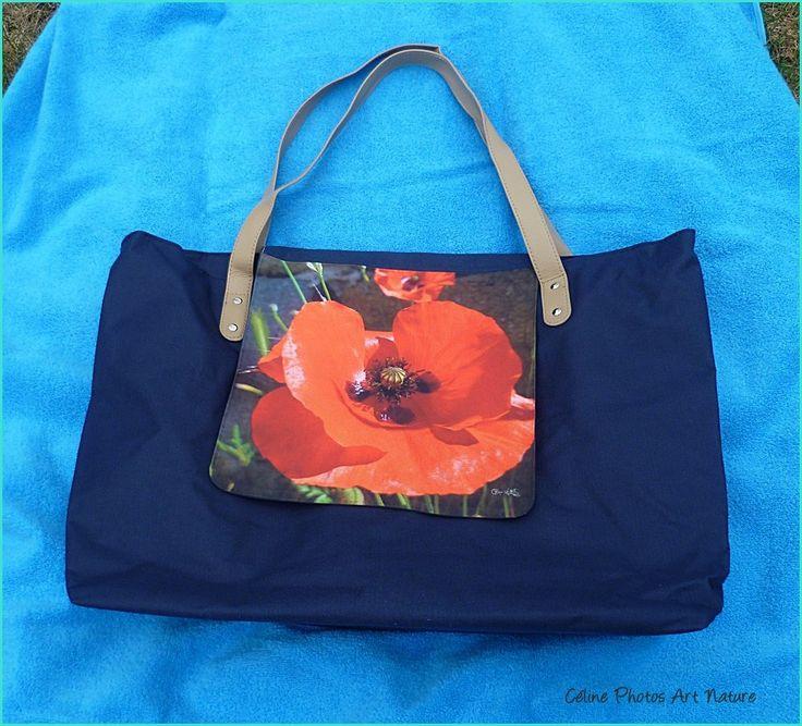 Grand sac cabas coquelicot de Céline Photos Art Nature 32x50cm : Sacs à main par celinephotosartnature