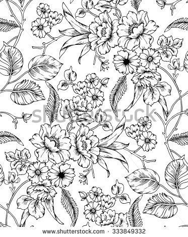 seamless black and white floral pattern #tattoos #tattoos