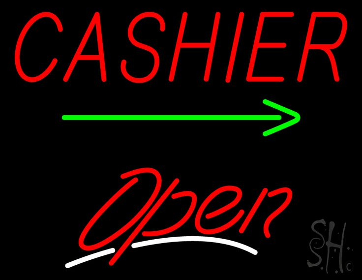 Cashier with Green Arrow Open Neon Sign 24 Tall x 31 Wide x 3 Deep, is 100% Handcrafted with Real Glass Tube Neon Sign. !!! Made in USA !!!  Colors on the sign are Red, White and Green. Cashier with Green Arrow Open Neon Sign is high impact, eye catching, real glass tube neon sign. This characteristic glow can attract customers like nothing else, virtually burning your identity into the minds of potential and future customers.