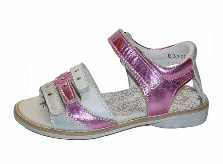 Twins sandalen metallic roze wit met studs