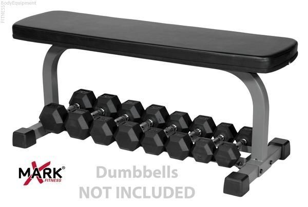 This flat bench with built-in dumbbell storage underneath is a great, space saving idea for the home gym!