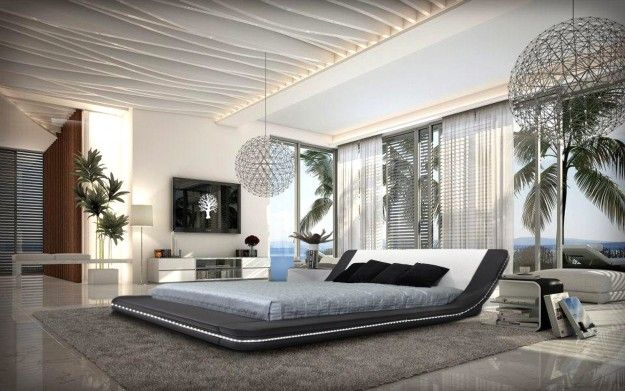 Fresh White Theme Impressive Bedroom Design With Elegant Black Fabric Flat Style Bed Cover Decoration That Have Grey Bedding Ornament Complete With The Two Pillows Also Beautiful Beach Outdoor Views Decoration Ideas Also Simple Ball Shaped Metal Materials Pendant Lamps New Inspirations For Impressive Bedroom Designs Bedroom