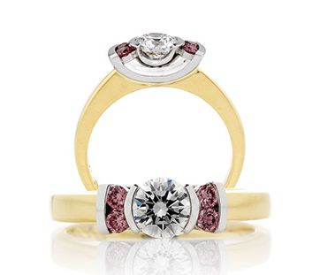 Princess cut pink diamond ring  http://www.hollowaydiamonds.com.au/coloured-diamonds/164-princess-and-pink-diamond-ring-in-platinum-18k/view