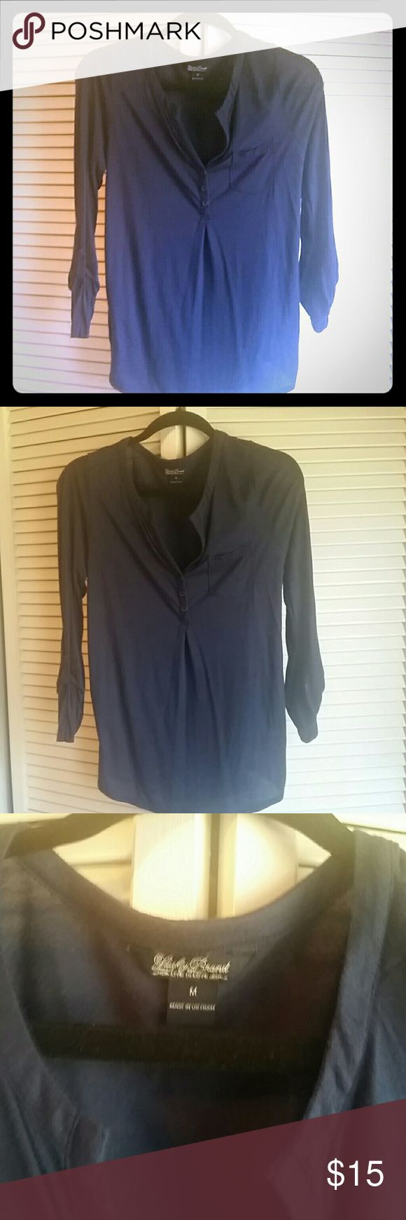 Lucky Brand Henley shirt Navy lucky Brand Henley shirt. Good condition. Has some peeling but no holes or tears. Size medium Lucky Brand Tops Blouses