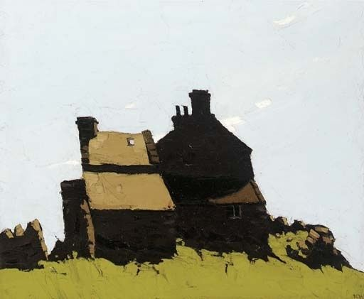 Deep shadows are dramatic.  Sir Kyffin Williams (1918 to 2006) Welsh landscape painter