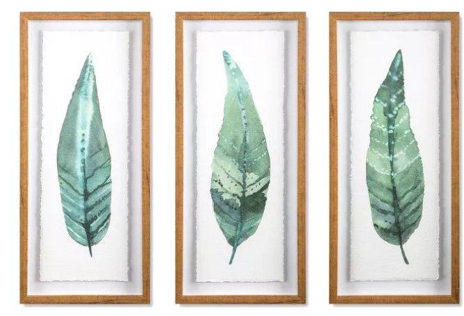 Framed Leaves Decorative Wall Art Set Of 3 Leaf Wall Art Framed Leaves Green Wall Decor