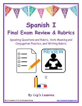 spanish 1 final exam essay The spanish language exam is designed to measure knowledge and ability equivalent to that of students who have completed one to two years of college spanish language study material taught during both years is incorporated into a single exam, covering both level 1 and level 2 content.