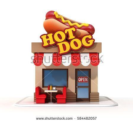 Hot dog restaurant 3d rendering