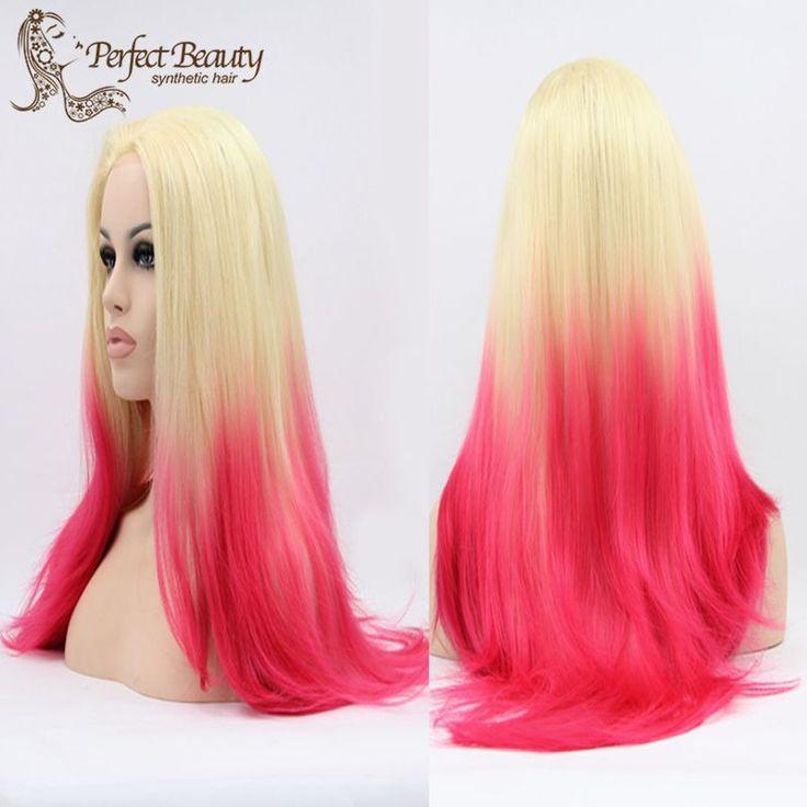 Blonde Pink Ombre Pruik Lace Front Synthetische Rechte Pruik Hittebestendige Cosplay Pruik in                         van synthetische pruiken op AliExpress.com | Alibaba Groep