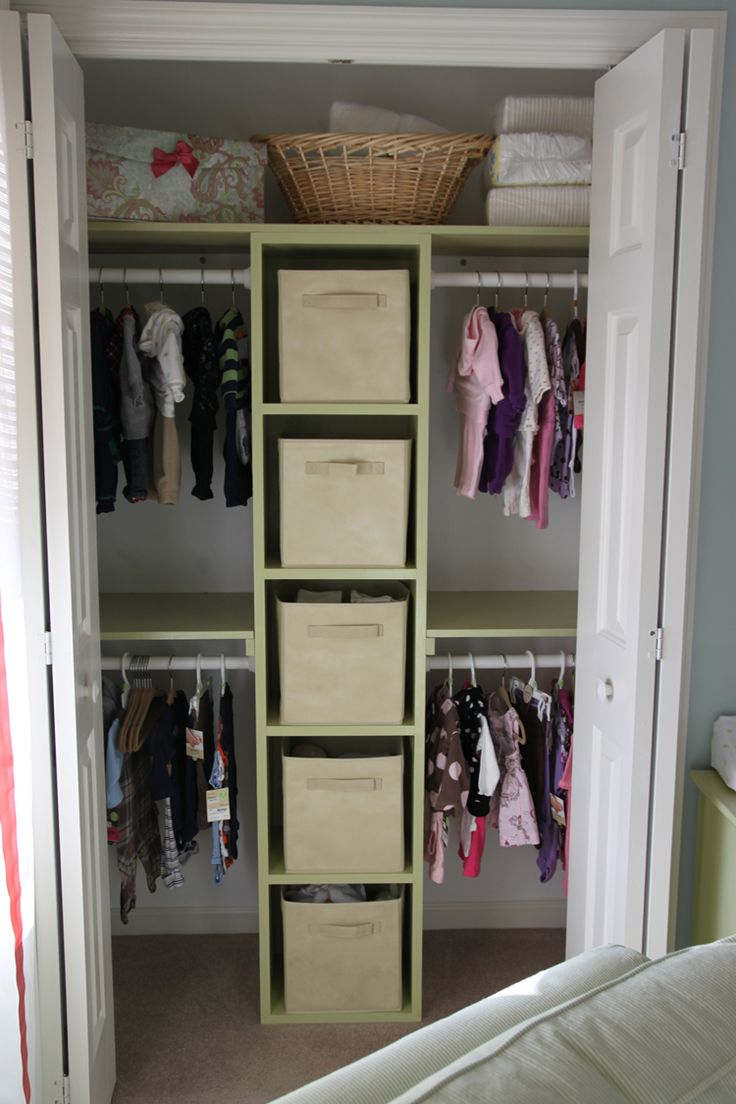 Closet the husband built for the twins room ideas for for Kids room closet ideas