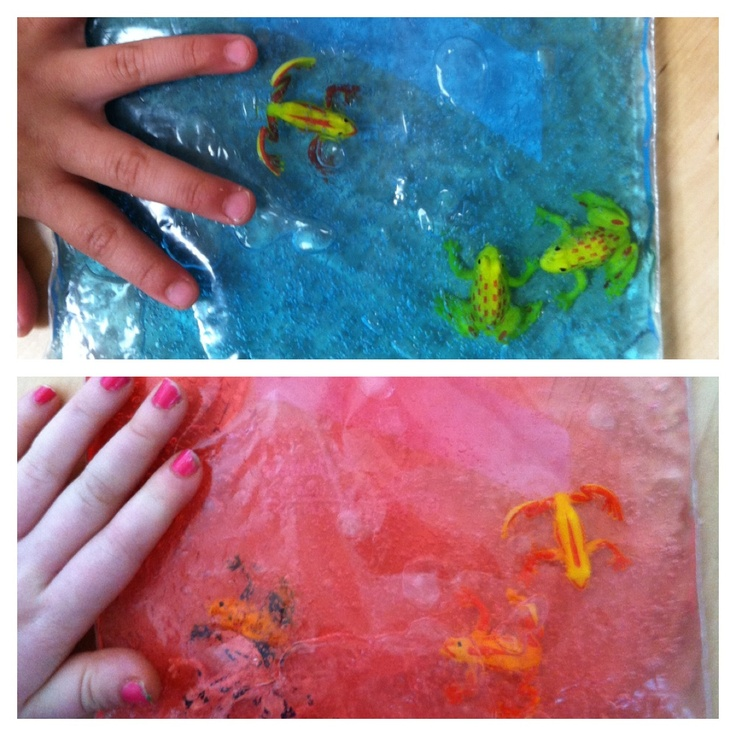 Activity for children with sensory processing disorders: fill a ziplock bag with hair gel and food coloring of your choice, mix until all the food coloring is incorporated with the hair gel. Add some plastic toys that have two of each kind. Have your child push the animals together into matches. To change it up put o e I. The bag that doesn't have a match and tell them to find the animal who doesn't have a friend :)