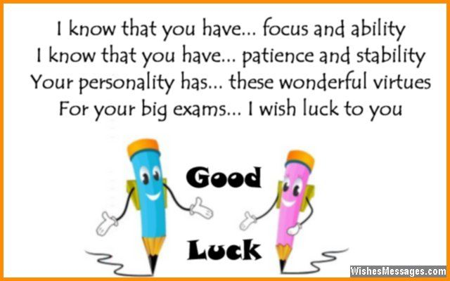 Good luck card poem to wish a student for exams