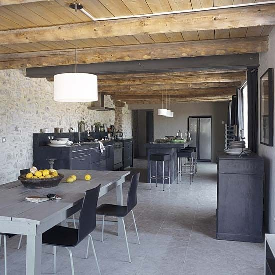kitchen of converted barn in france