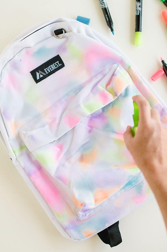 DIY Rainbow Watercolor Backpack