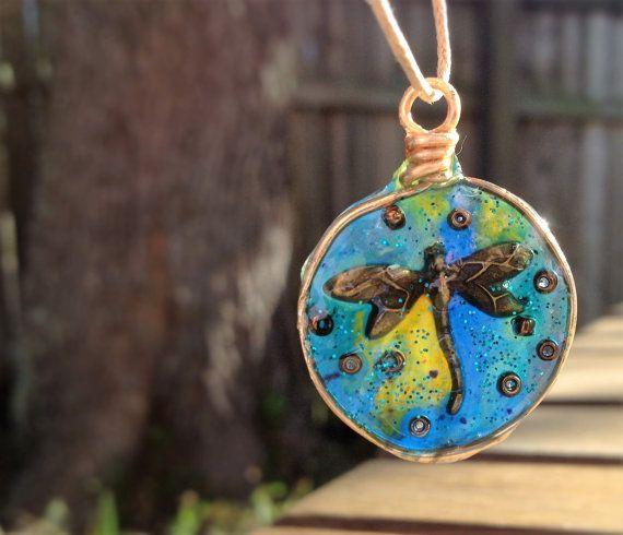 Dragonfly pendant by AshkaraDesign on Etsy