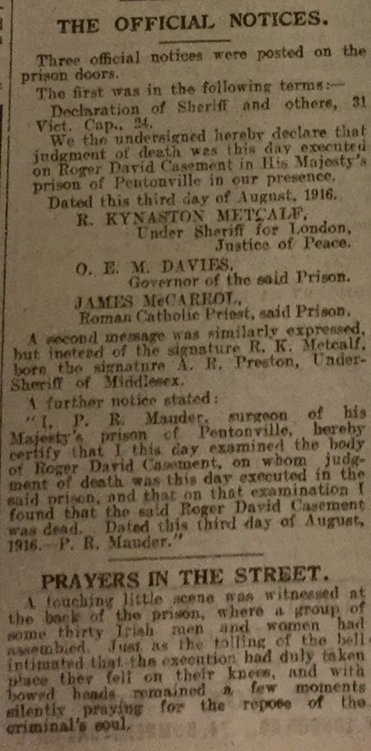 Leicester Mail. The execution of Roger Casement.